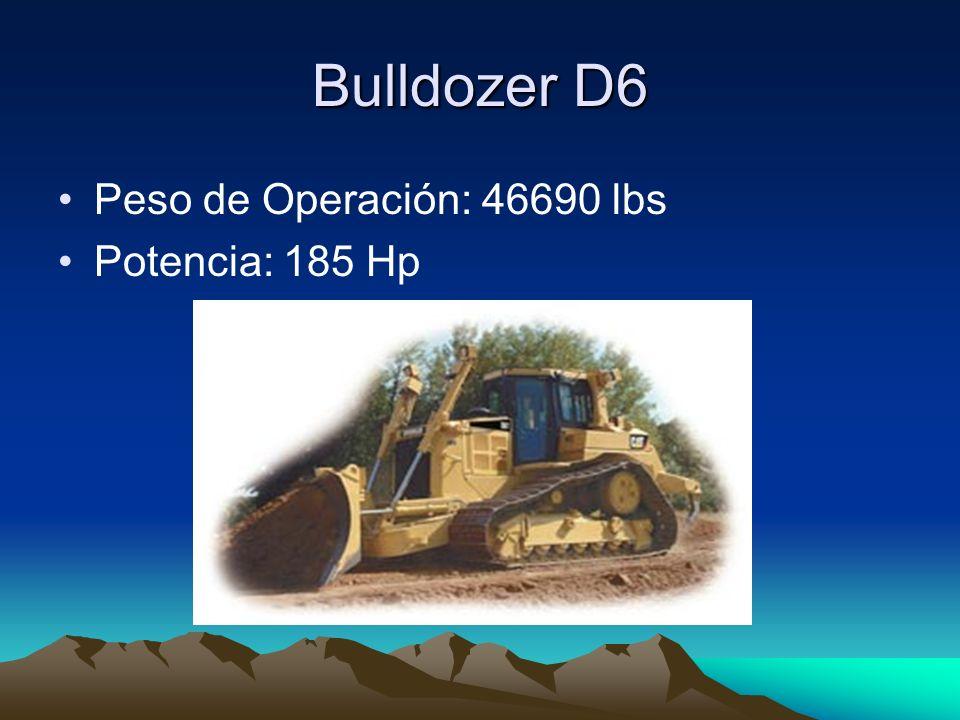 Bulldozer D6 Peso de Operación: 46690 lbs Potencia: 185 Hp