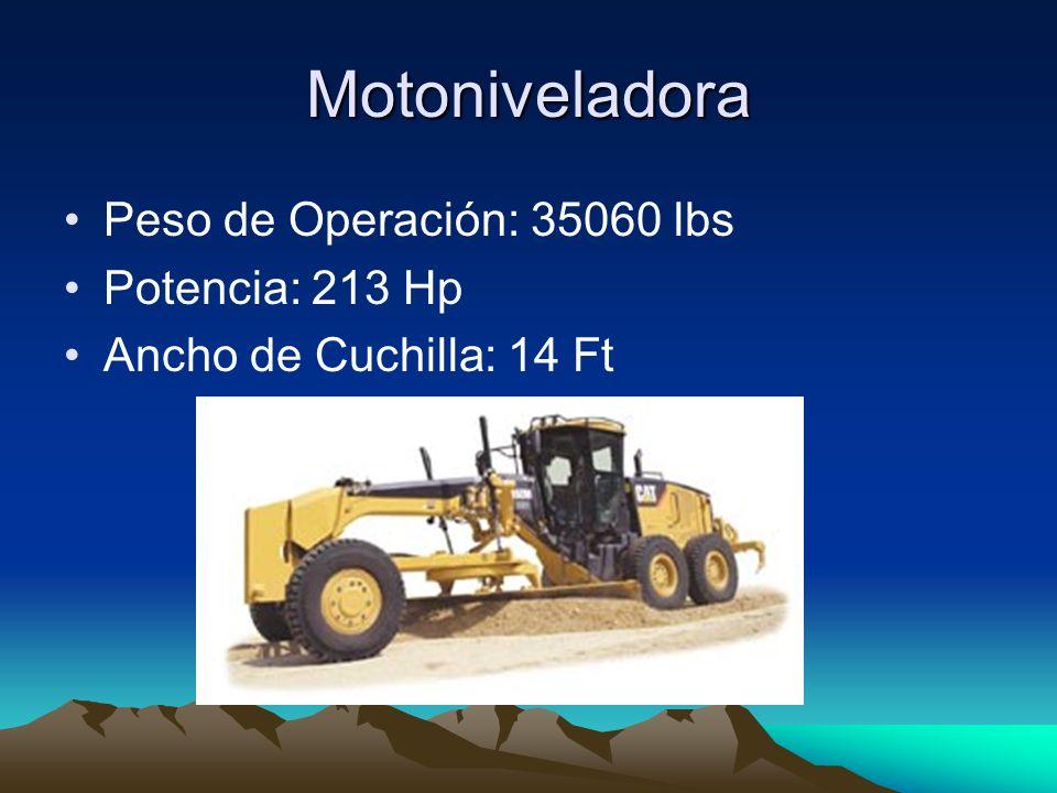 Motoniveladora Peso de Operación: 35060 lbs Potencia: 213 Hp