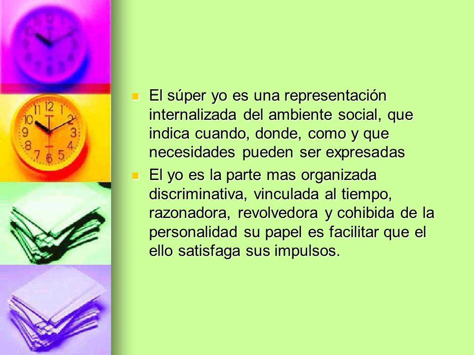 El súper yo es una representación internalizada del ambiente social, que indica cuando, donde, como y que necesidades pueden ser expresadas