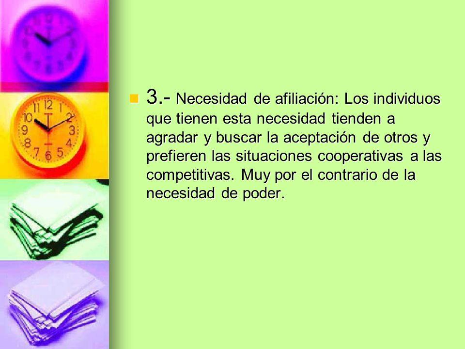 3.- Necesidad de afiliación: Los individuos que tienen esta necesidad tienden a agradar y buscar la aceptación de otros y prefieren las situaciones cooperativas a las competitivas.