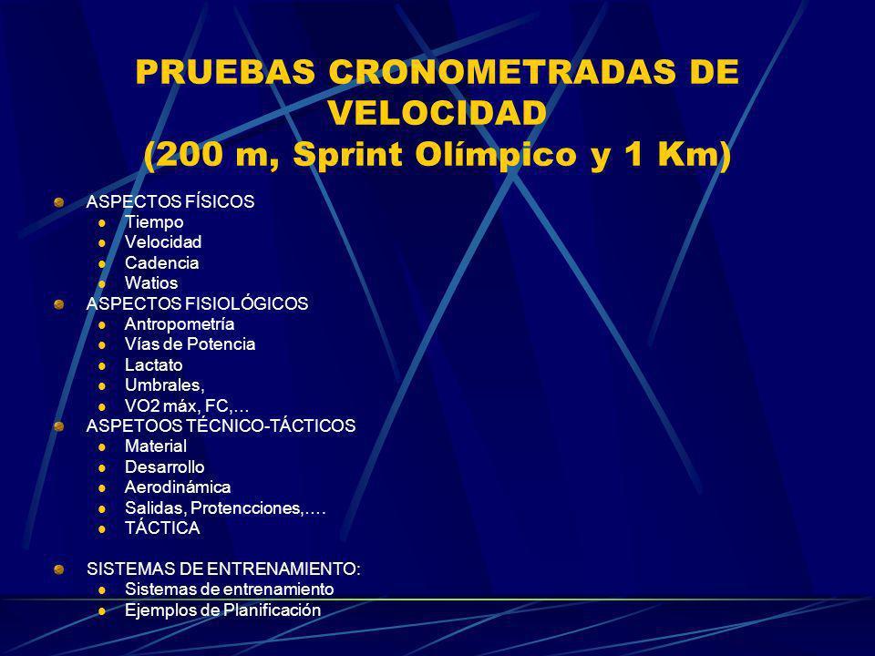 PRUEBAS CRONOMETRADAS DE VELOCIDAD (200 m, Sprint Olímpico y 1 Km)