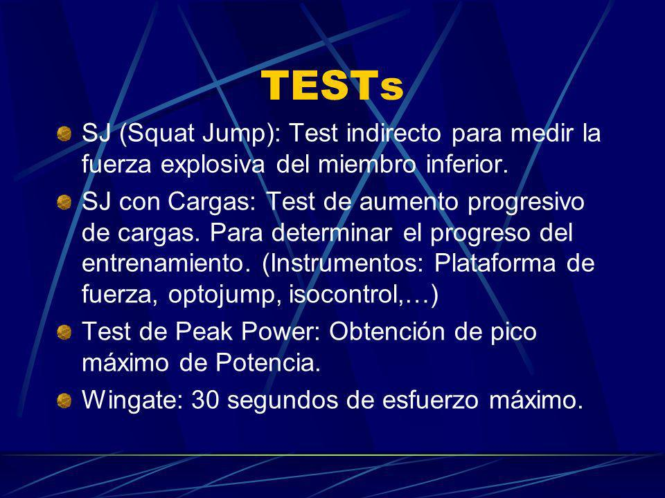 TESTs SJ (Squat Jump): Test indirecto para medir la fuerza explosiva del miembro inferior.