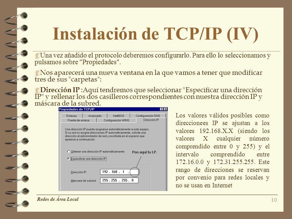 Instalación de TCP/IP (IV)