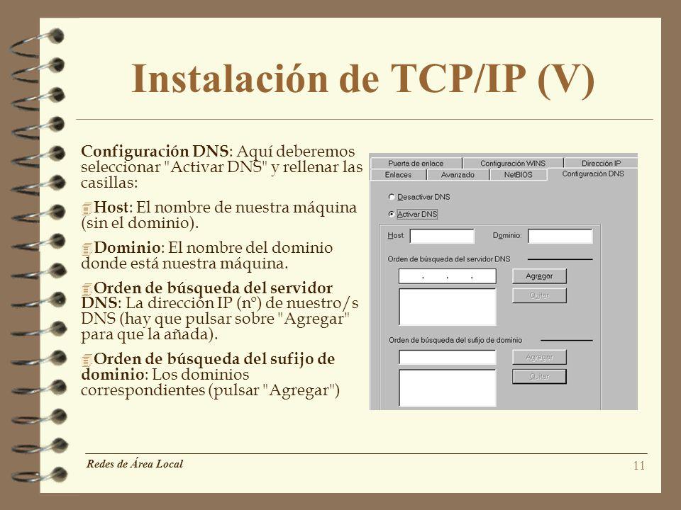 Instalación de TCP/IP (V)