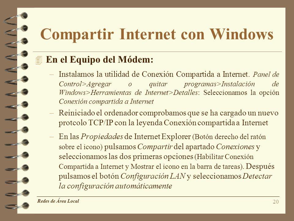 Compartir Internet con Windows