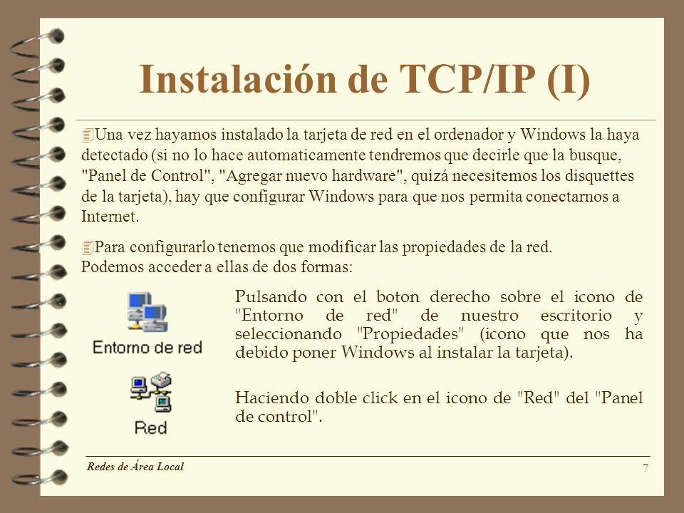 Instalación de TCP/IP (I)