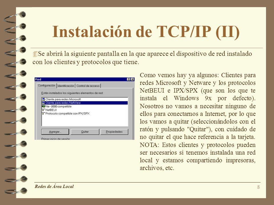 Instalación de TCP/IP (II)