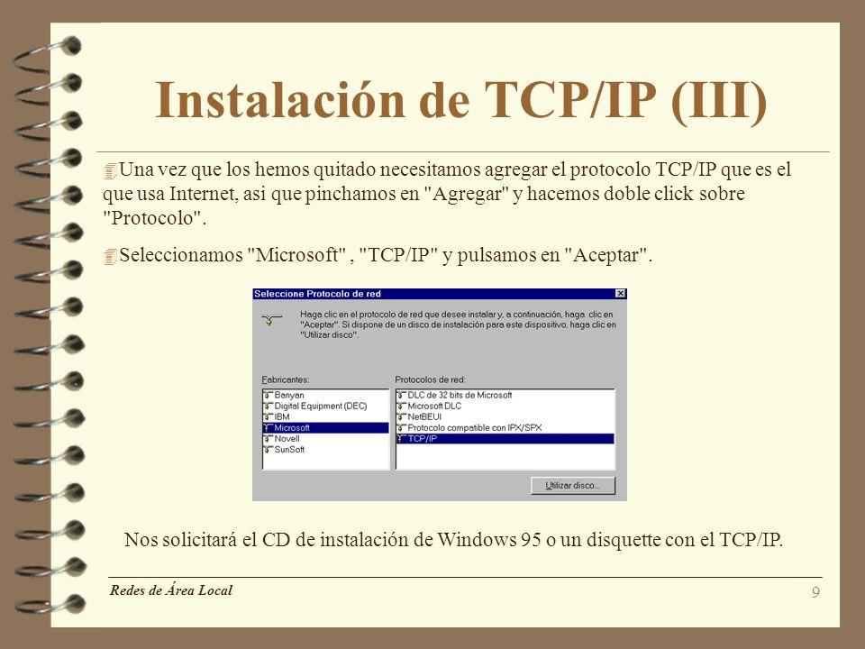 Instalación de TCP/IP (III)