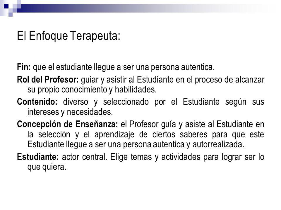 El Enfoque Terapeuta:Fin: que el estudiante llegue a ser una persona autentica.