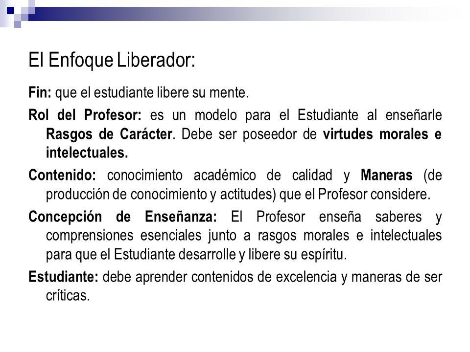 El Enfoque Liberador: Fin: que el estudiante libere su mente.