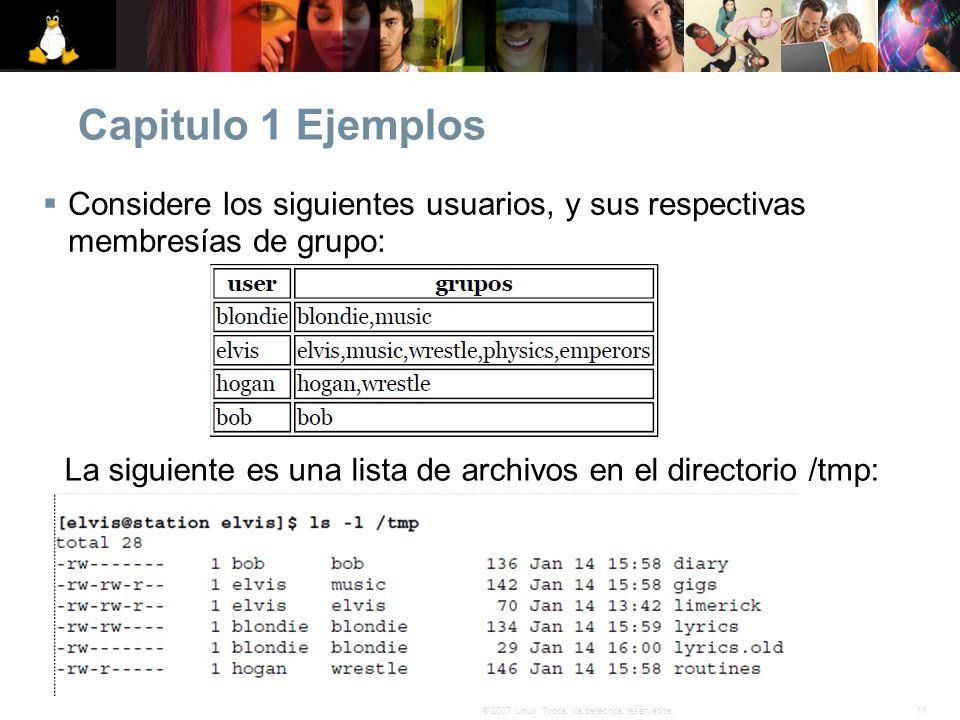 La siguiente es una lista de archivos en el directorio /tmp: