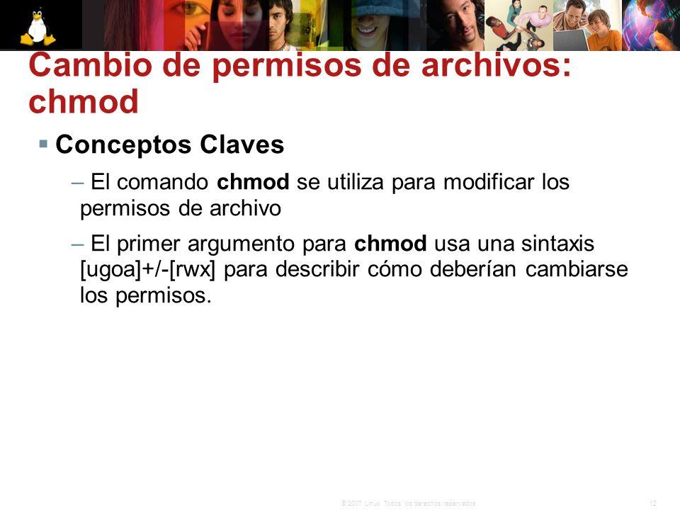 Cambio de permisos de archivos: chmod