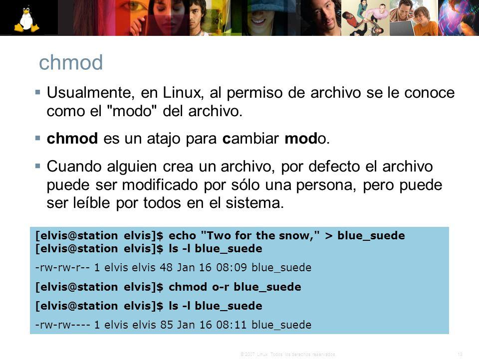 chmod Usualmente, en Linux, al permiso de archivo se le conoce como el modo del archivo. chmod es un atajo para cambiar modo.