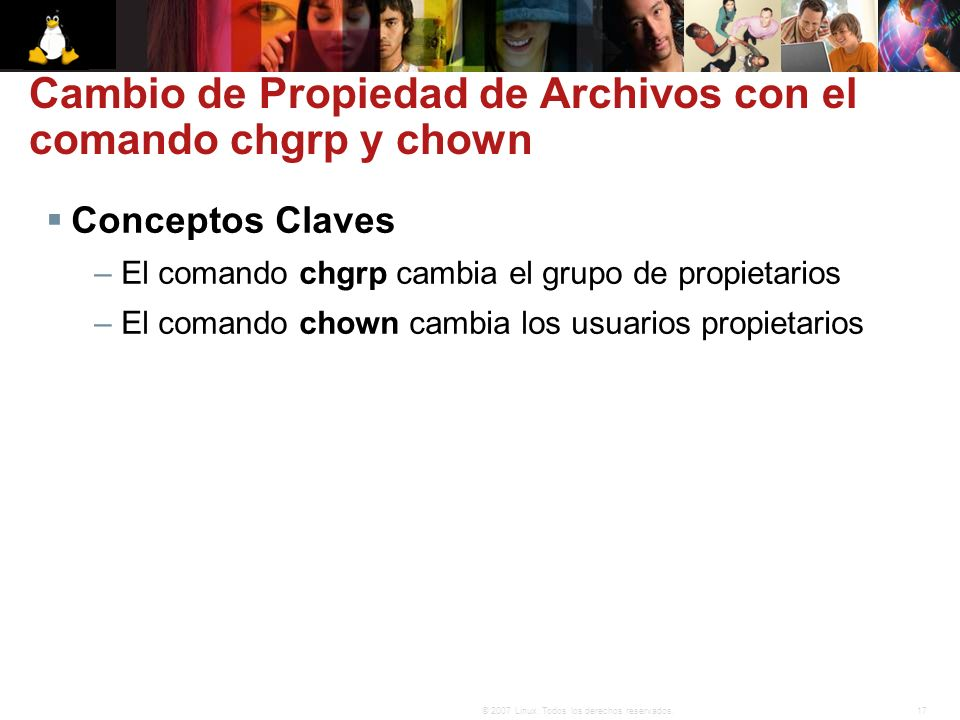 Cambio de Propiedad de Archivos con el comando chgrp y chown