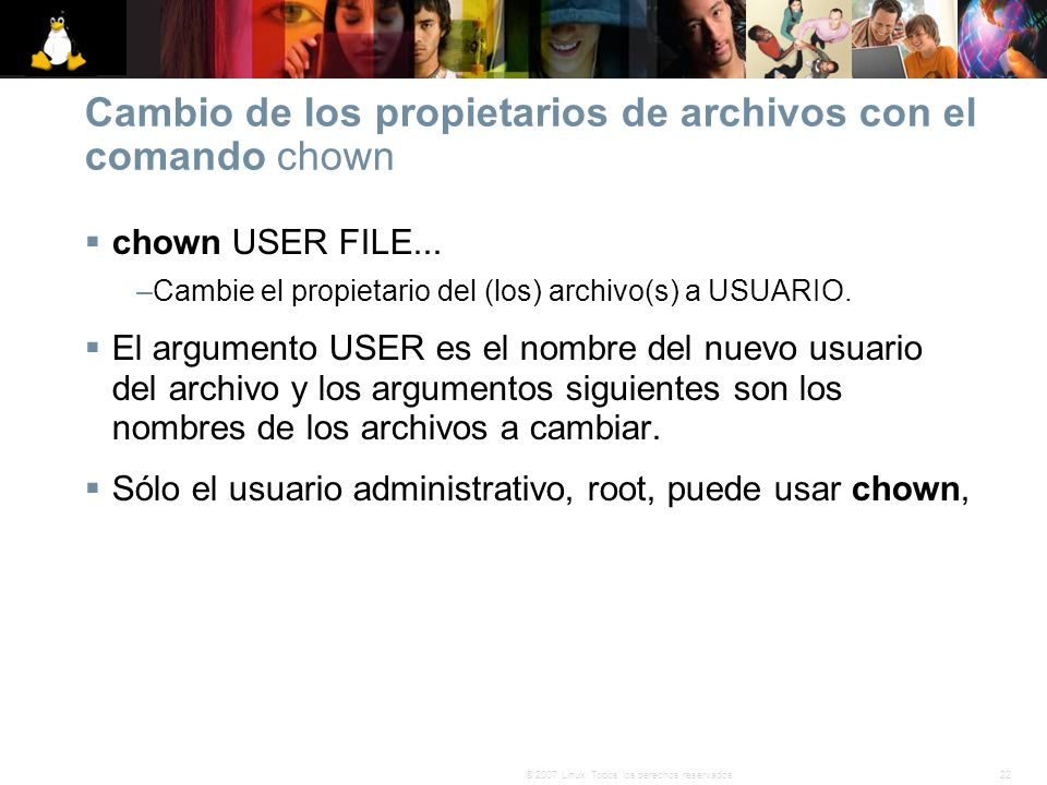 Cambio de los propietarios de archivos con el comando chown
