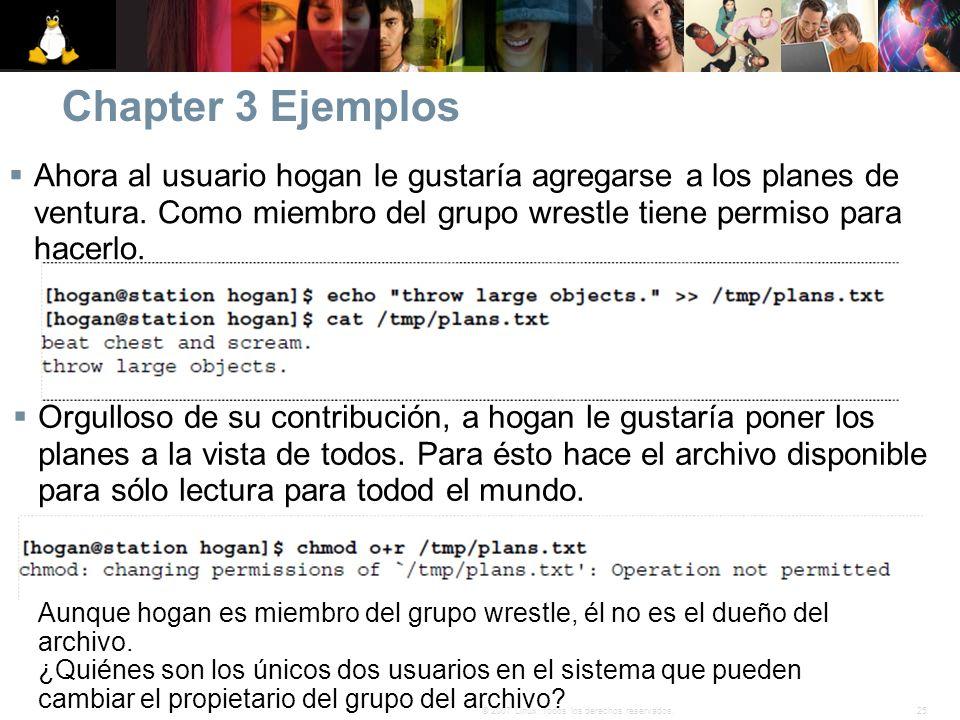 Chapter 3 Ejemplos Ahora al usuario hogan le gustaría agregarse a los planes de ventura. Como miembro del grupo wrestle tiene permiso para hacerlo.