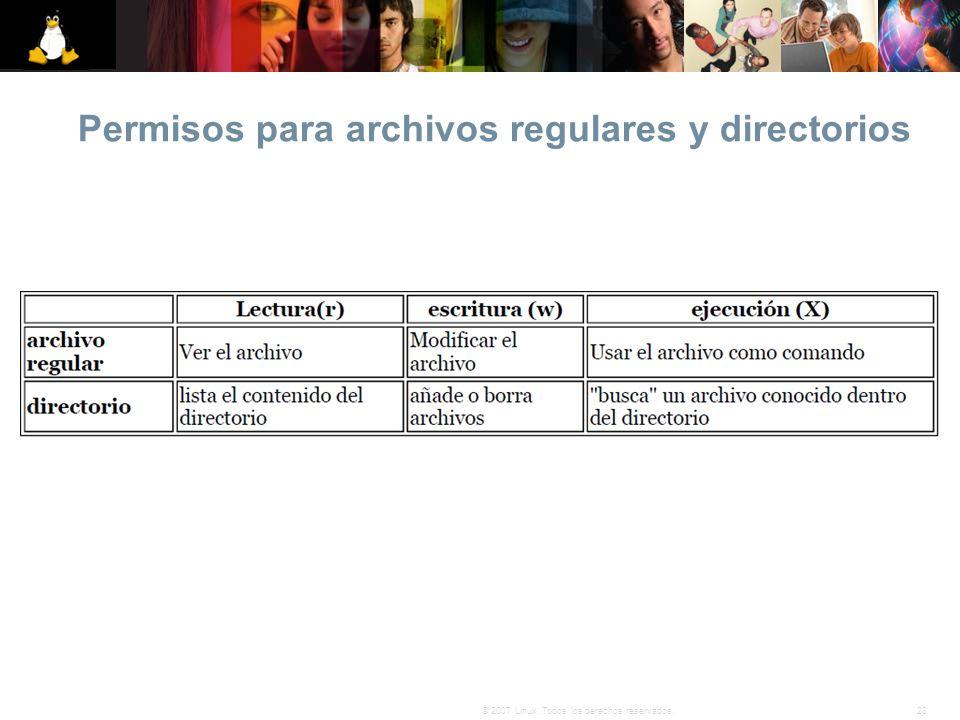 Permisos para archivos regulares y directorios