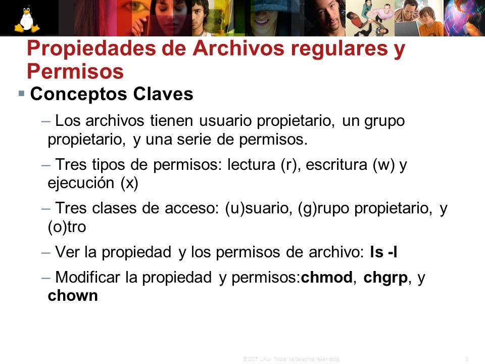 Propiedades de Archivos regulares y Permisos