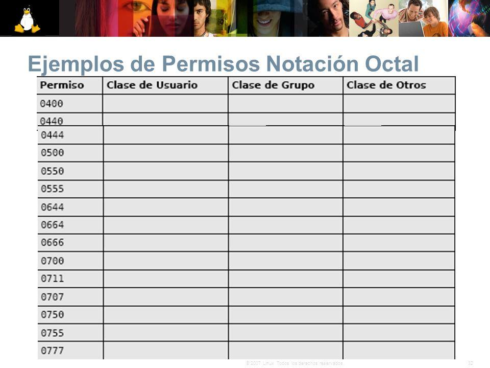 Ejemplos de Permisos Notación Octal