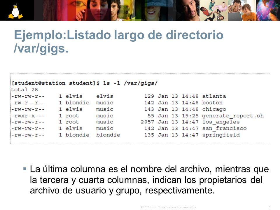 Ejemplo:Listado largo de directorio /var/gigs.