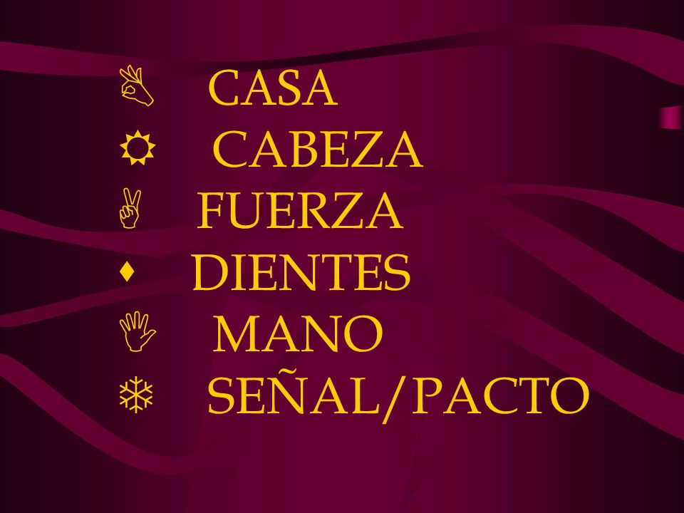 B CASA R CABEZA A FUERZA s DIENTES I MANO T SEÑAL/PACTO