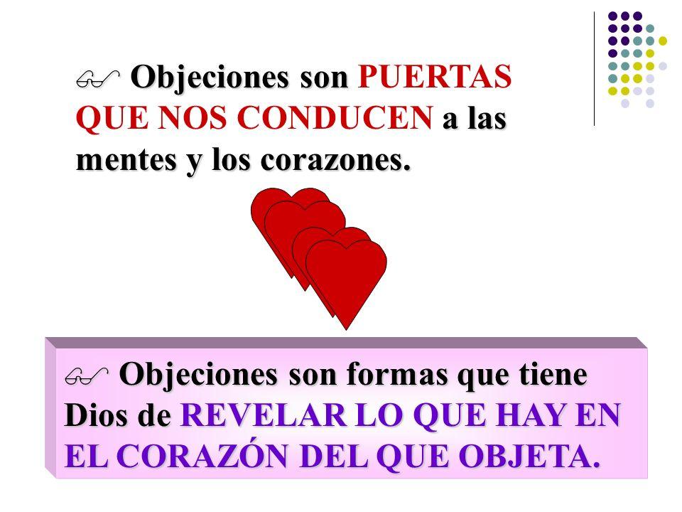 Objeciones son PUERTAS QUE NOS CONDUCEN a las mentes y los corazones.