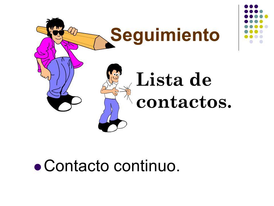 Seguimiento Lista de contactos. Contacto continuo.