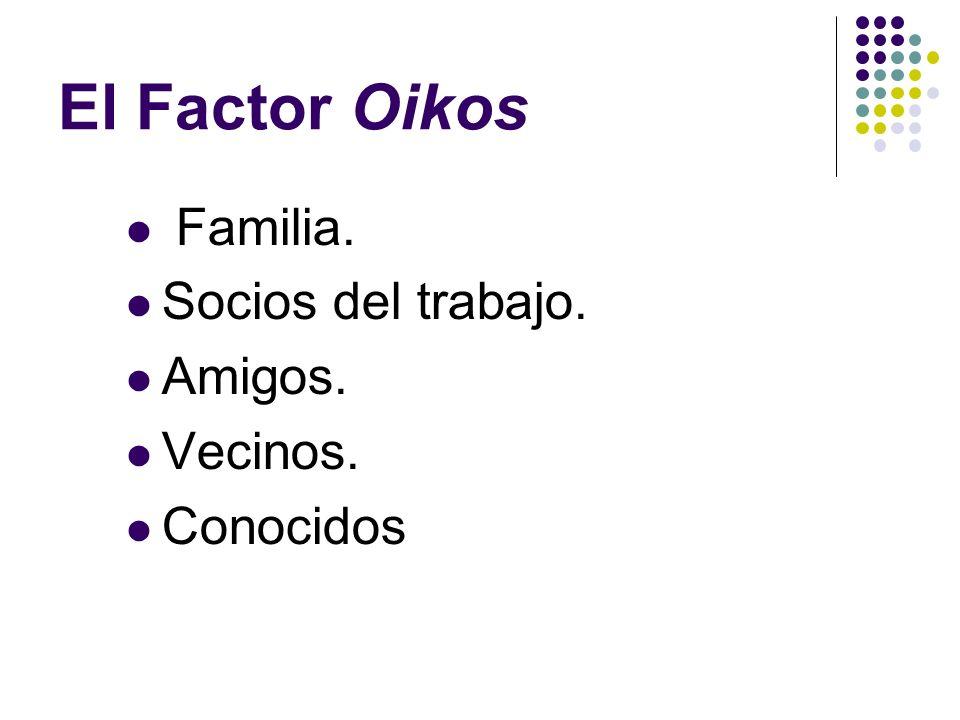 El Factor Oikos Familia. Socios del trabajo. Amigos. Vecinos.