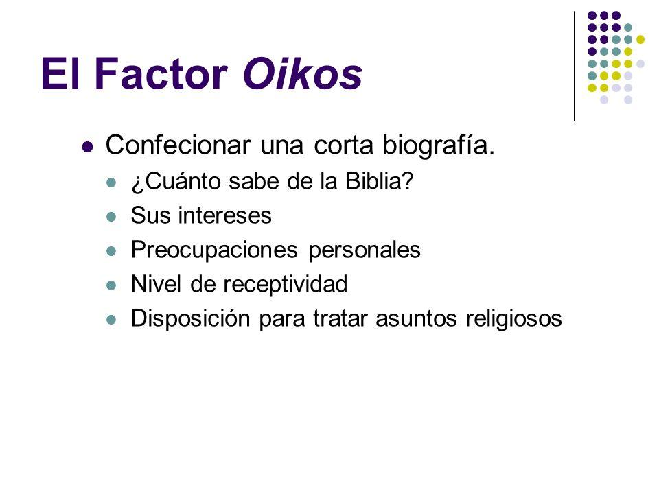 El Factor Oikos Confecionar una corta biografía.