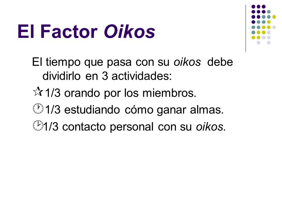 El Factor OikosEl tiempo que pasa con su oikos debe dividirlo en 3 actividades: 1/3 orando por los miembros.