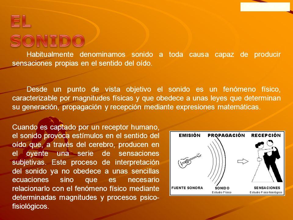 ONDAS SONORASEL SONIDO. Habitualmente denominamos sonido a toda causa capaz de producir sensaciones propias en el sentido del oído.