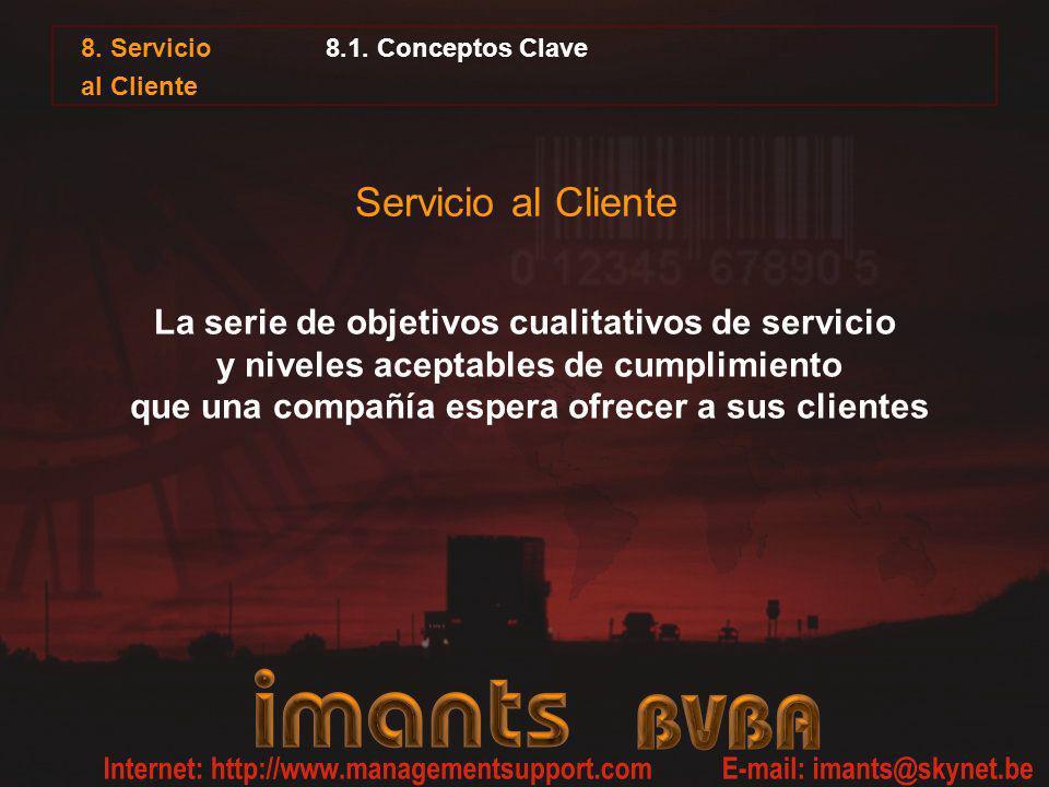 Servicio al Cliente La serie de objetivos cualitativos de servicio