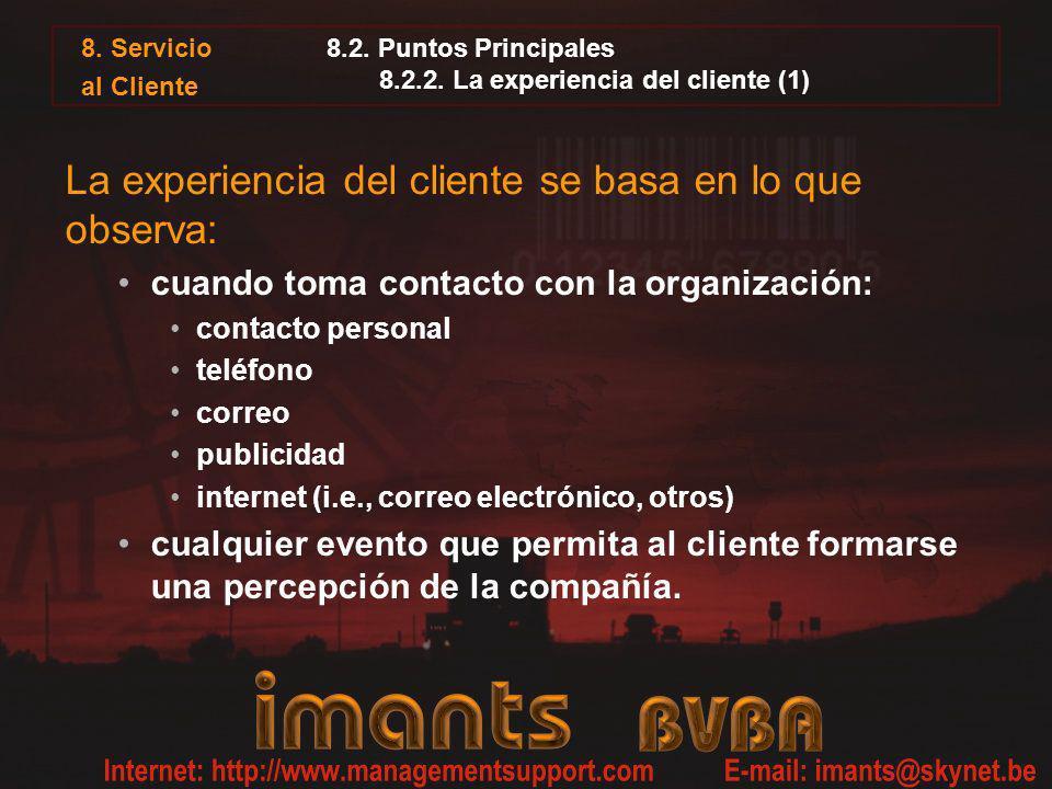 8.2. Puntos Principales 8.2.2. La experiencia del cliente (1)