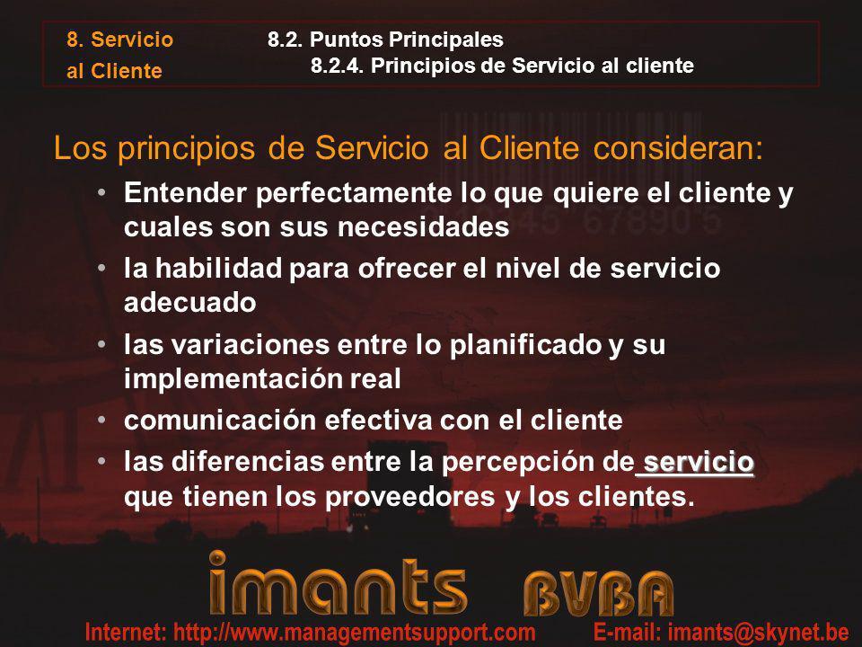 8.2. Puntos Principales 8.2.4. Principios de Servicio al cliente