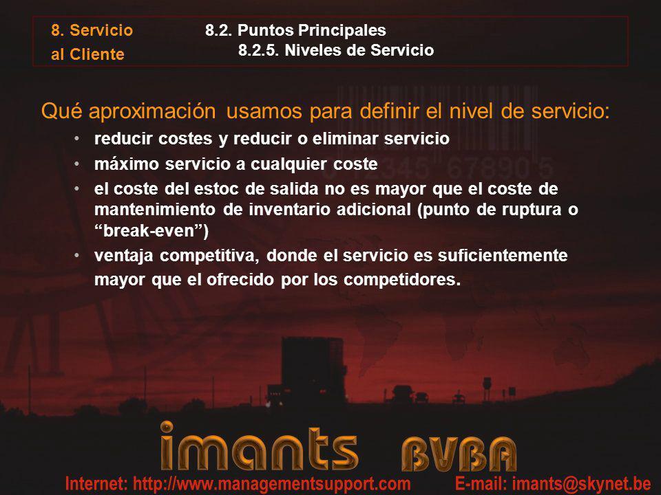 8.2. Puntos Principales 8.2.5. Niveles de Servicio