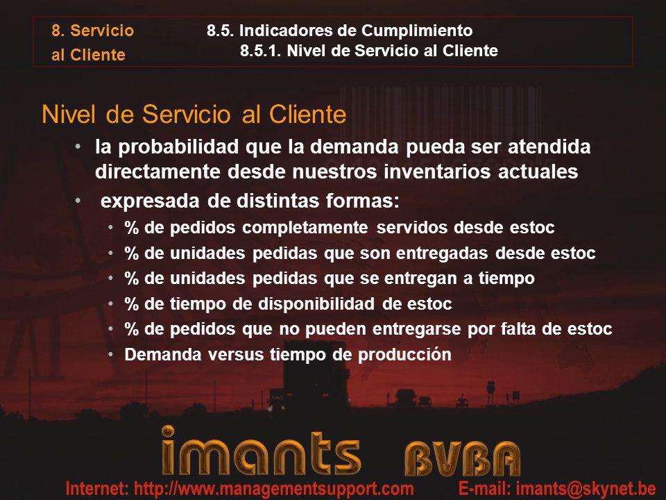 8.5. Indicadores de Cumplimiento 8.5.1. Nivel de Servicio al Cliente