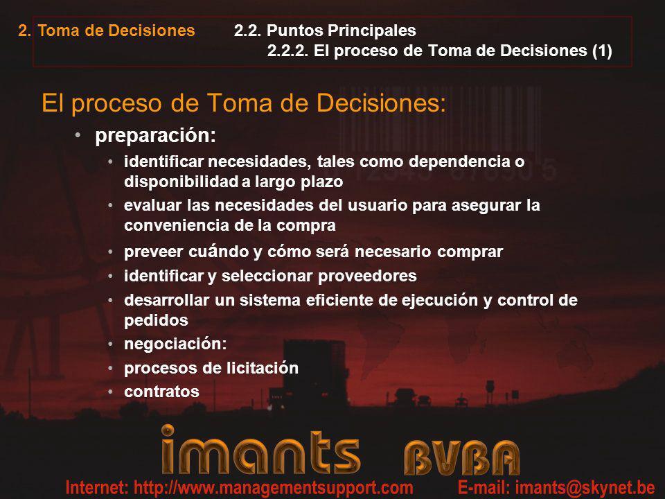 2.2. Puntos Principales 2.2.2. El proceso de Toma de Decisiones (1)