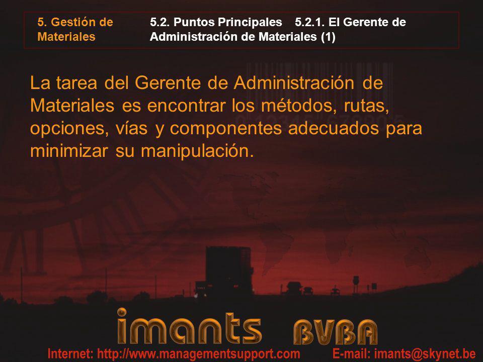 5. Gestión de Materiales 5.2. Puntos Principales 5.2.1. El Gerente de Administración de Materiales (1)