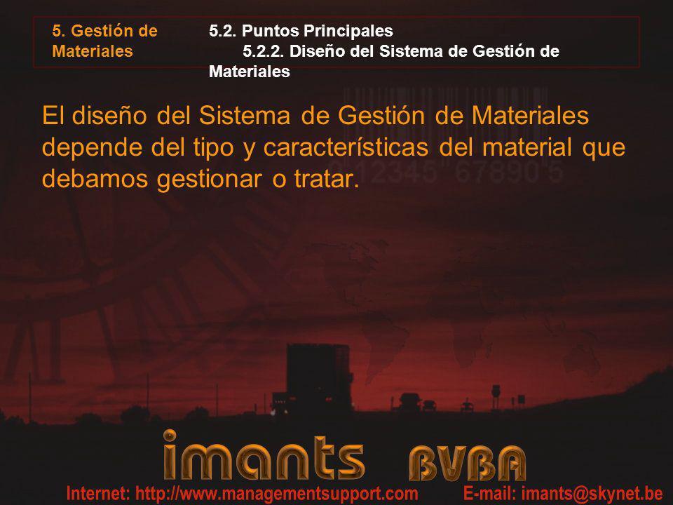 5. Gestión de Materiales 5.2. Puntos Principales 5.2.2. Diseño del Sistema de Gestión de Materiales.