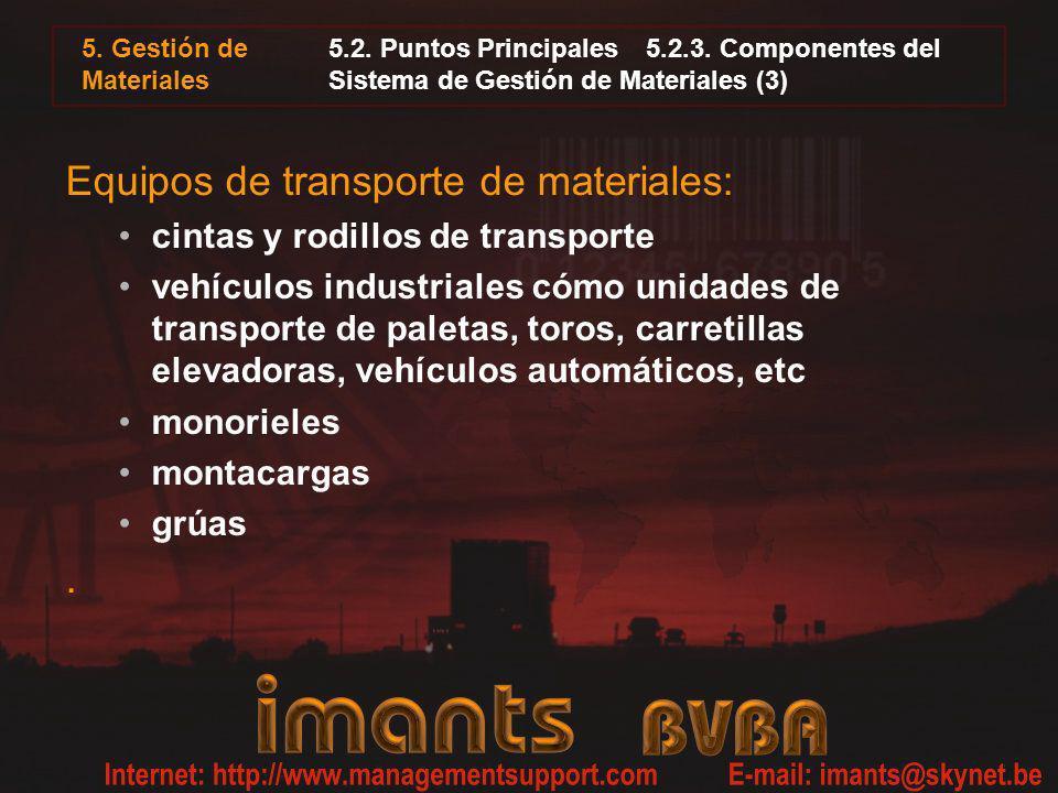 Equipos de transporte de materiales: