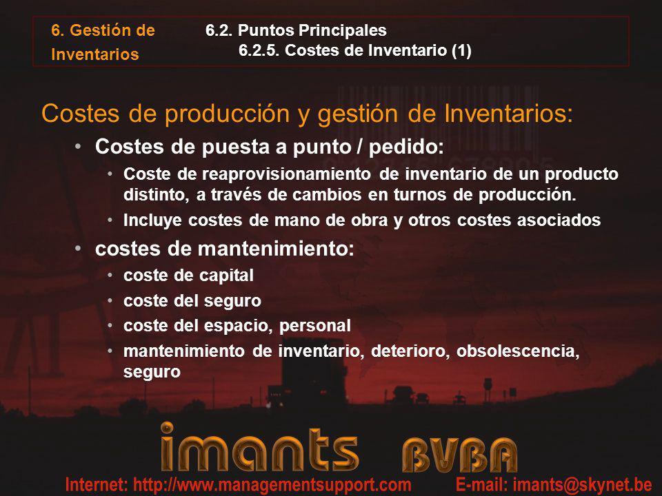 6.2. Puntos Principales 6.2.5. Costes de Inventario (1)