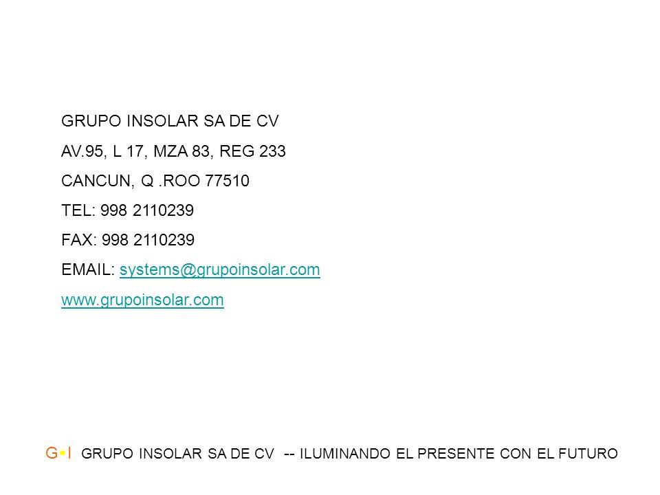 GRUPO INSOLAR SA DE CV AV.95, L 17, MZA 83, REG 233. CANCUN, Q .ROO 77510. TEL: 998 2110239. FAX: 998 2110239.