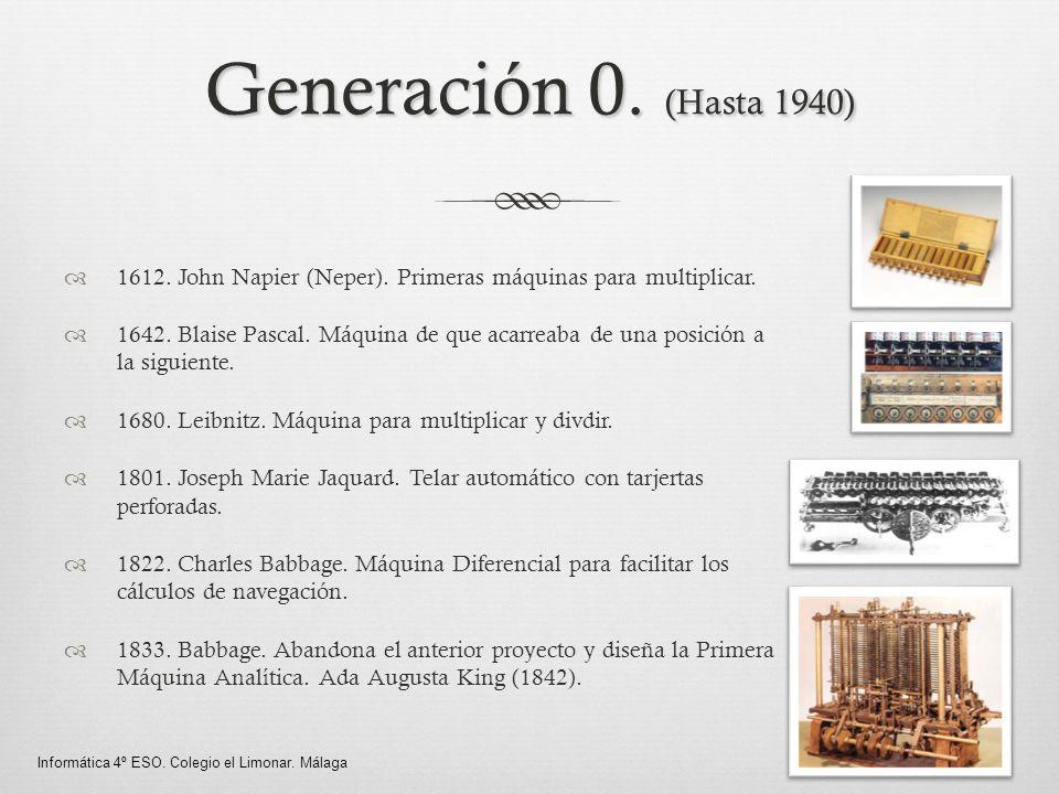 Generación 0. (Hasta 1940) 1612. John Napier (Neper). Primeras máquinas para multiplicar.