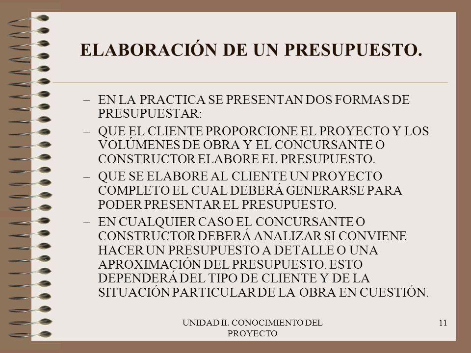 ELABORACIÓN DE UN PRESUPUESTO.