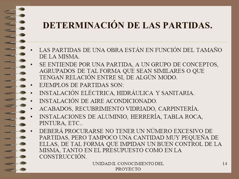 DETERMINACIÓN DE LAS PARTIDAS.