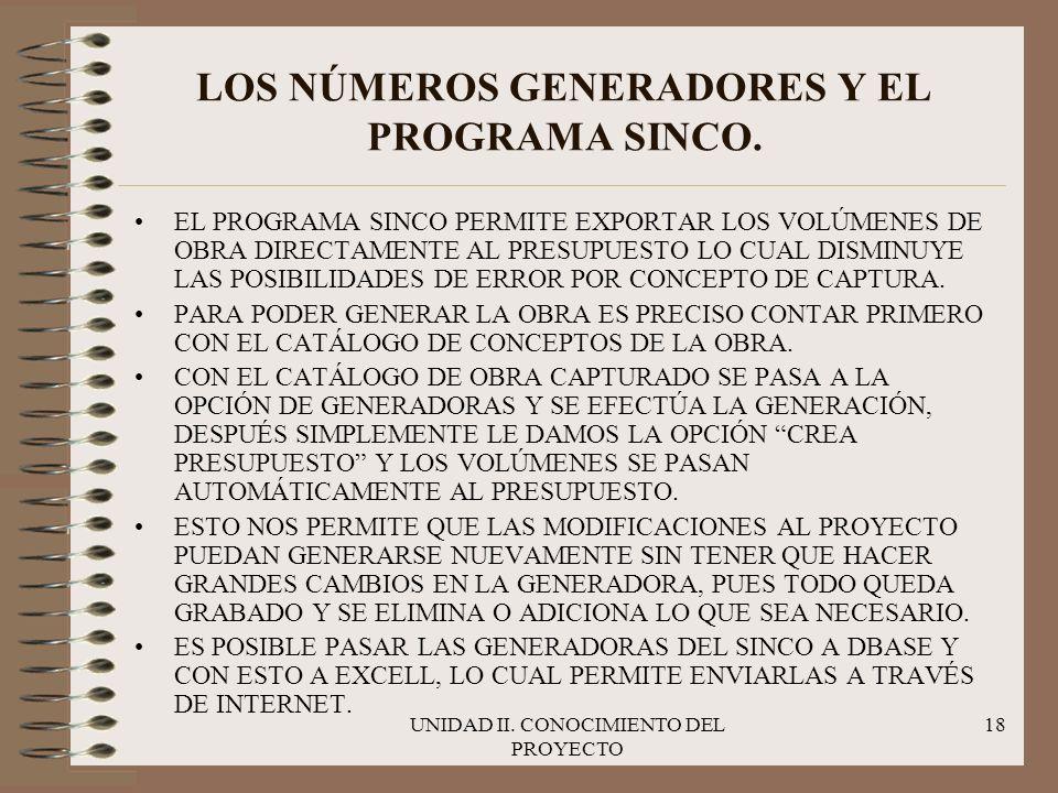 LOS NÚMEROS GENERADORES Y EL PROGRAMA SINCO.
