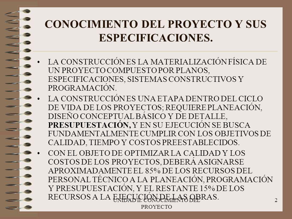 CONOCIMIENTO DEL PROYECTO Y SUS ESPECIFICACIONES.