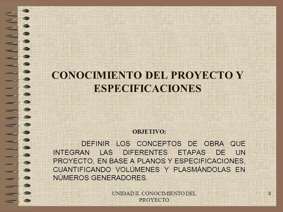 CONOCIMIENTO DEL PROYECTO Y ESPECIFICACIONES