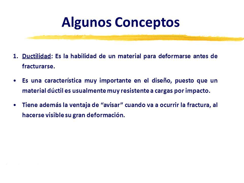 Algunos Conceptos Ductilidad: Es la habilidad de un material para deformarse antes de fracturarse.