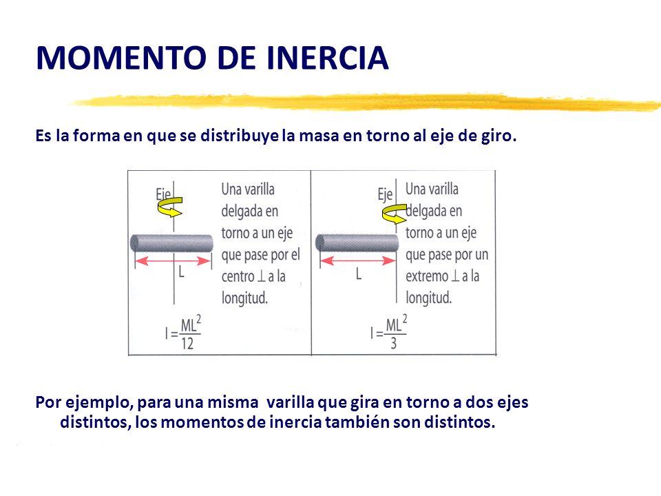 MOMENTO DE INERCIAEs la forma en que se distribuye la masa en torno al eje de giro.